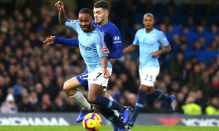 Raheem Sterling of Manchester City tussles with Mateo Kovacic during Chelsea's 2-0 victory in December – the first of three defeats that month for the champions.