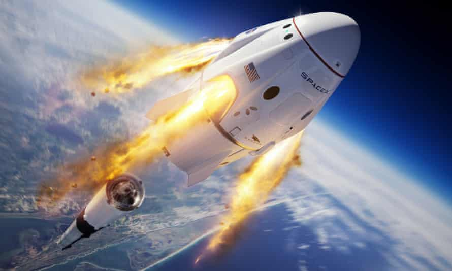 Artist's rendering of the SpaceX Crew Dragon capsule and Falcon 9 rocket during its successful unmanned abort test on 19 January 2020.