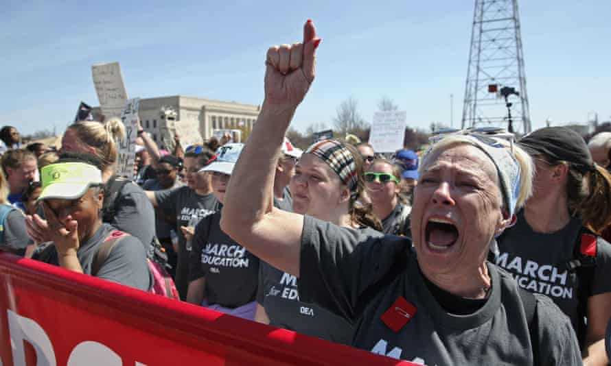 Teachers in Oklahoma on Tuesday. Dozens of teachers have promised to run for state office in elections in the fall.