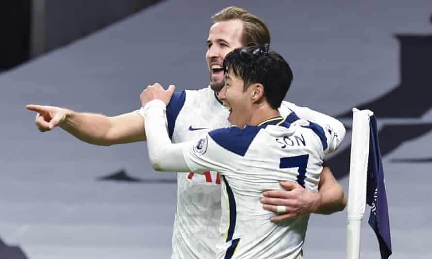 Tottenham's Son Heung-min celebrates with Harry Kane