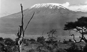 The snow covered peak of Mount Kilimanjaro, Tanzania, East Africa, mid 20th Century.