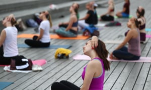 A yoga class in Moscow