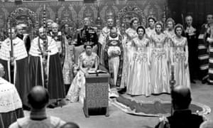 Queen Elizabeth II at her coronation at Westminster Abbey, London in 1953.