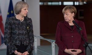 Theresa May and Angela Merkel addressing the media later in the day.