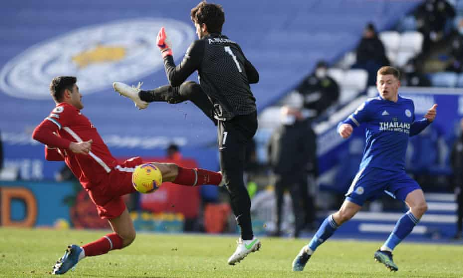 Liverpool's Alisson collides with Ozan Kabak, leading to Jamie Vardy scoring into an empty net.