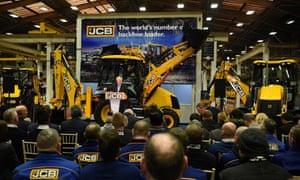 Boris Johnson speaking at the JCB HQ in Staffordshire.