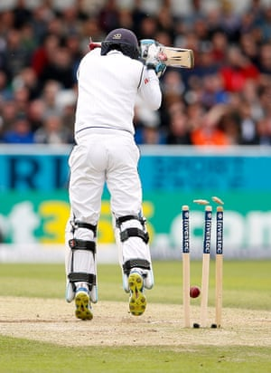 Sri Lanka's Kusal Mendis is bowled out by England's James Anderson.