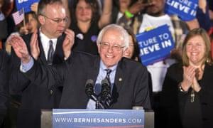 Sen. Bernie Sanders smiles as he speaks at his primary night rally Tuesday, Feb. 9, 2016, in Concord, N.H. (AP Photo/J. David Ake)