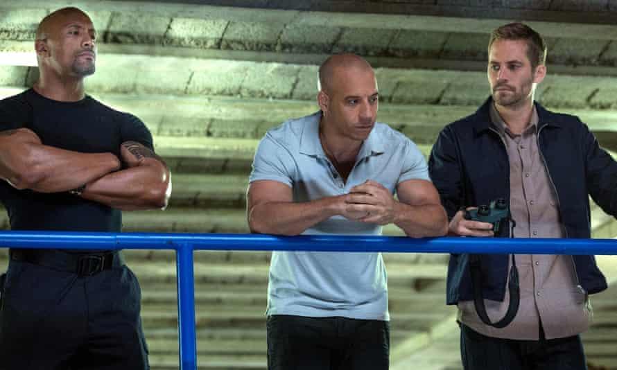 Boy racers ... Dwayne Johnson, Vin Diesel and Paul Walker in Fast & Furious 6.