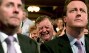 Soundbites can be amusing: Ken Clarke chuckles behind Liam Fox and David Cameron at Conservative party conference, 2005.