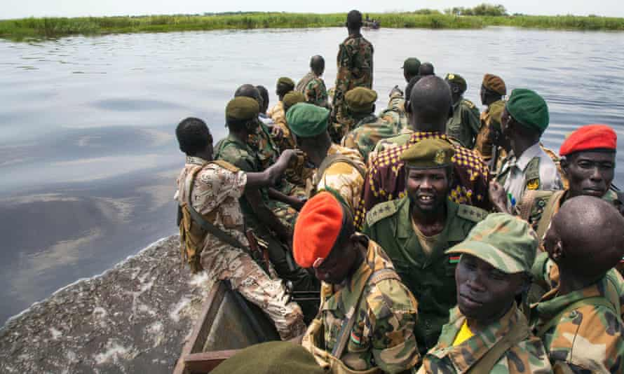 Soldiers on boat