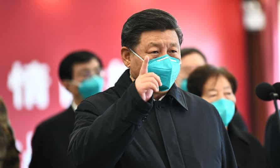 President Xi of China speaking by videolink to a hospital in Wuhan