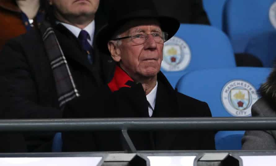 Sir Bobby Charlton watches a Manchester derby last December.