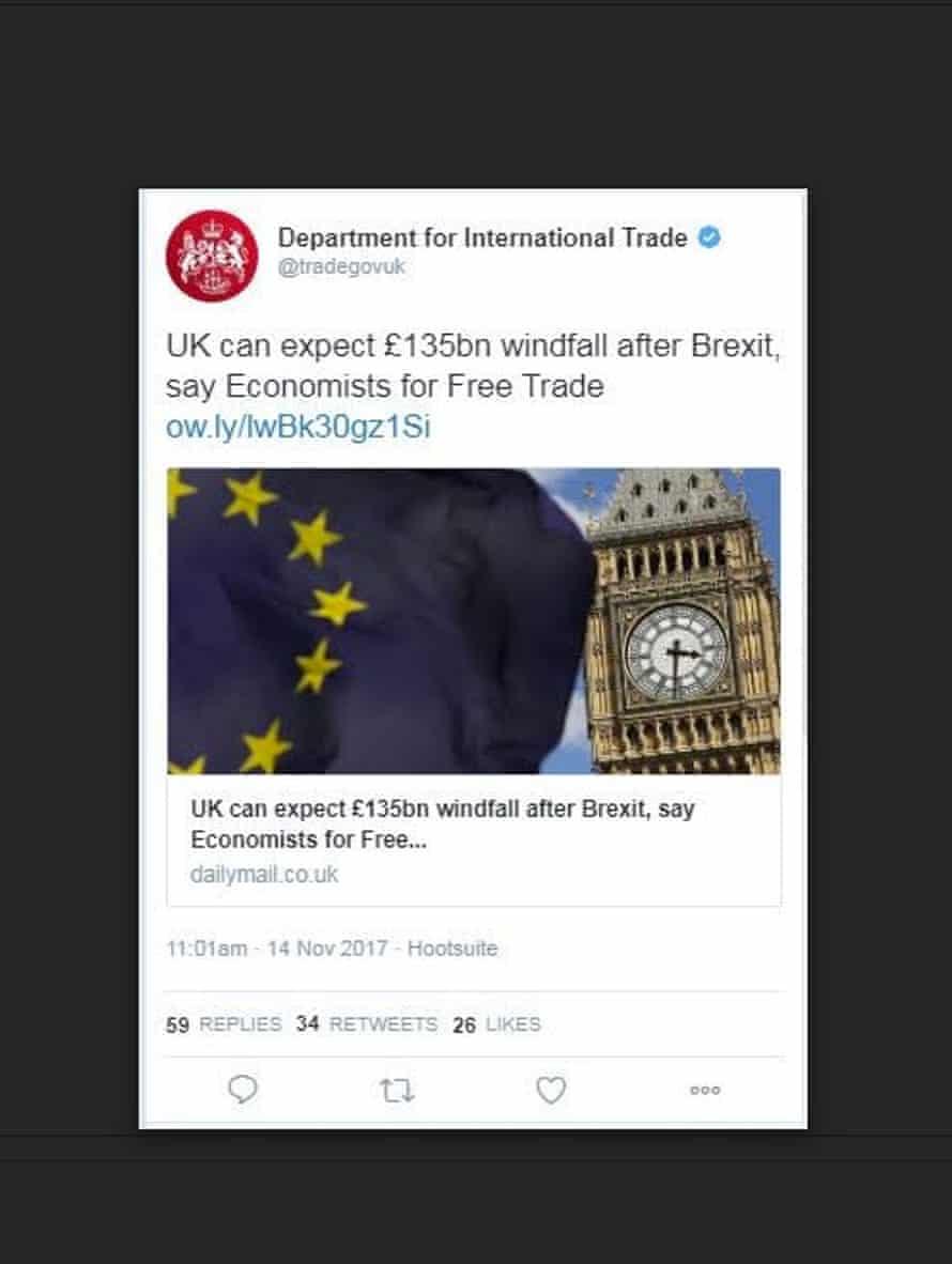 The trade department tweet.