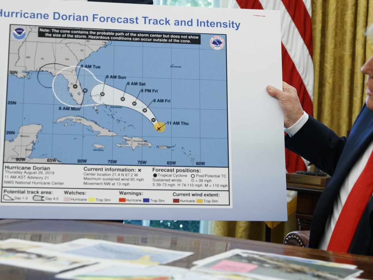 Trump Shows Fake Hurricane Map In Apparent Bid To Validate Incorrect Tweet World News The Guardian