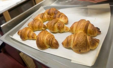 Tray of croissants.