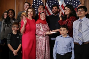Newly Elected House Speaker Nancy Pelosi Holds Ceremonial Swearing-In With New Members Of CongressSpeaker of the House Nancy Pelosi poses for photographs with Rashida Tlaib and her family in the Rayburn Room at the U.S. Capitol.