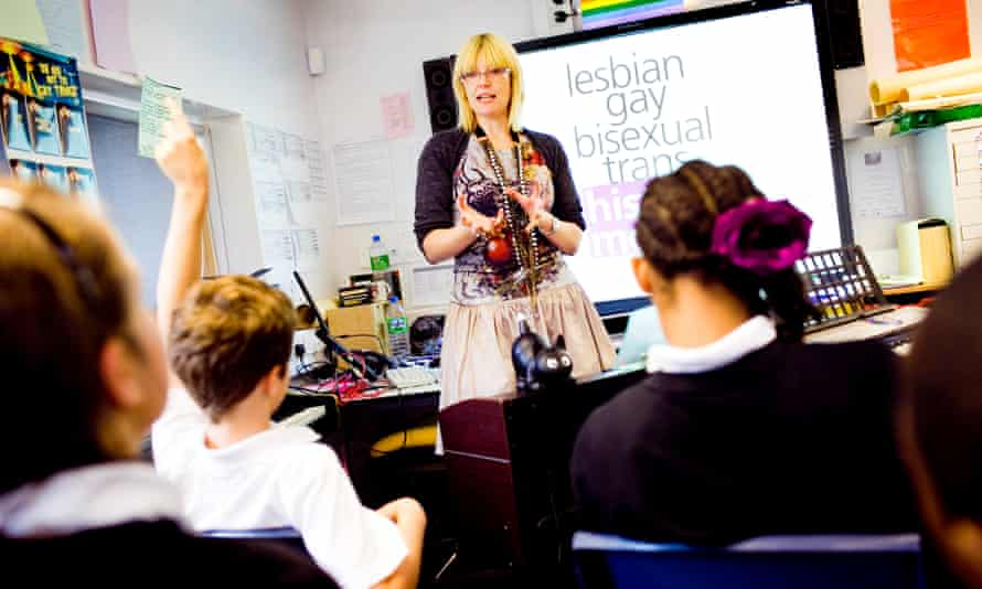 Pupils taking part in a 'gay awareness' class