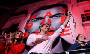 Pedro Sánchez gestures at the Socialist party headquarter in Madrid.