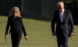 President Joe Biden and first lady Jill Biden arrive at the White House in Washington.