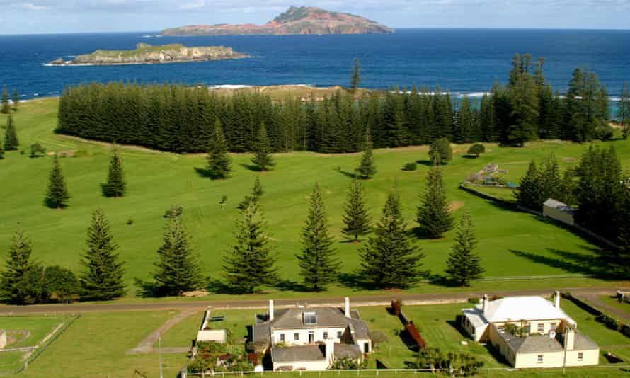 Looking down on historic Quality Row and the New Military Barracks on Norfolk Island