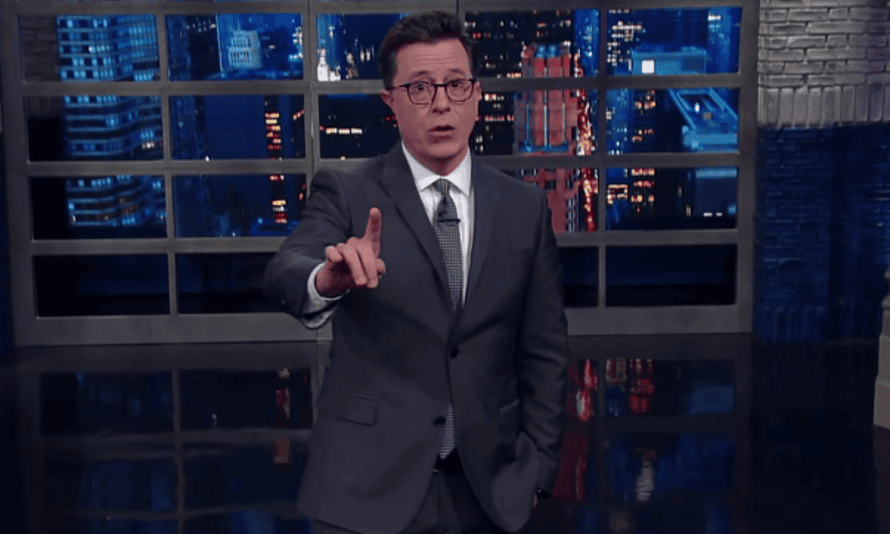 'Clean coal sounds like an oxymoron but then so does president Trump,' Stephen Colbert says.