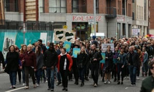 A rally walks to a former Magdalene laundry in Dublin as part of the demonstrations against clerical sexual abuse during Pope Francis's visit to Ireland