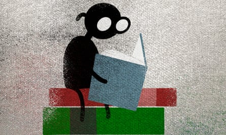 Illustration of a person reading book while sitting on a stack of other books