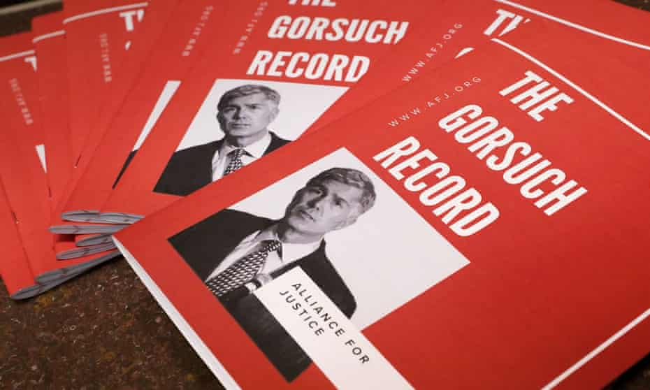 Publications by the Alliance for Justice, a liberal judicial advocacy group, seek to shed light on the record of Neil Gorsuch, Donald Trump's supreme court nominee.