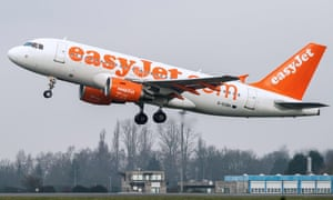 An easyJet plane takes off at Lille-Lesquin airport.