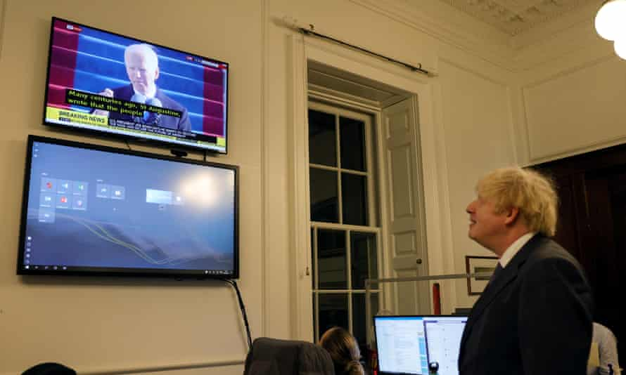 Boris Johnson watching Joe Biden's inauguration in 10 Downing Street on Wednesday.