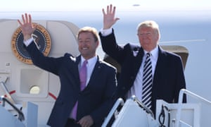 Donald Trump with Dean Heller in Nevada. In a tweet, the president said Heller had 'become a good friend' who was 'all about #MAGA'.