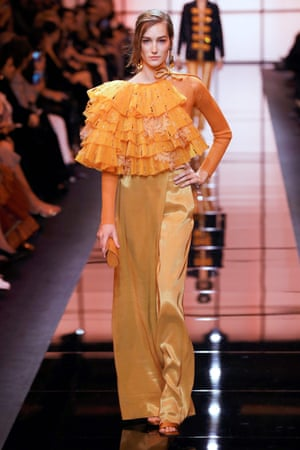 A model for Giorgio Armani Prive during Paris fashion week.