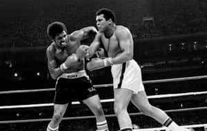 Muhammad Ali and Leon Spinks exchange punches during their title bout at the Superdome in New Orleans in 1978. Ali became the first man to win the heavyweight crown three times by defeating Spinks with a 15-round unanimous decision.
