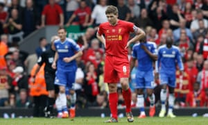 Dejected Steven Gerrard after his costly error against Chelsea in 2014