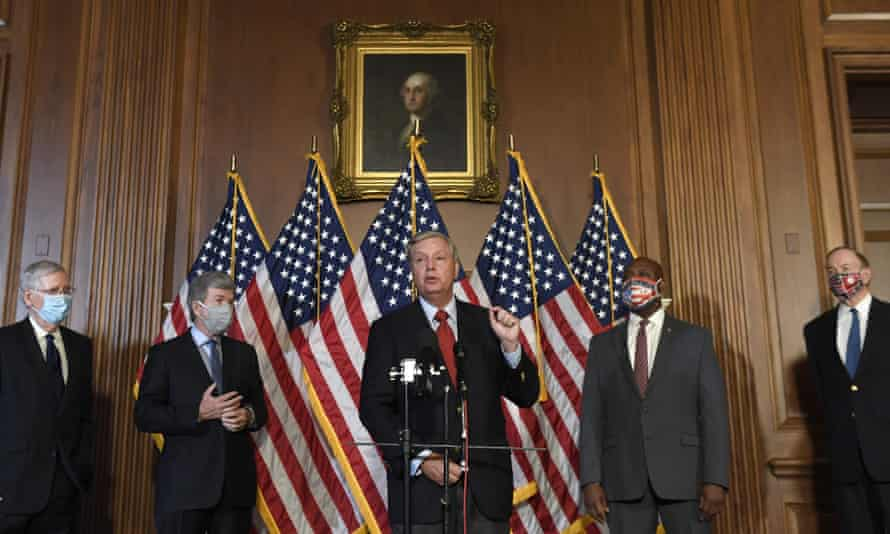 Lindsey Graham speaks during a news conference on on Capitol Hill to highlight the Republican proposal for the next coronavirus stimulus bill.