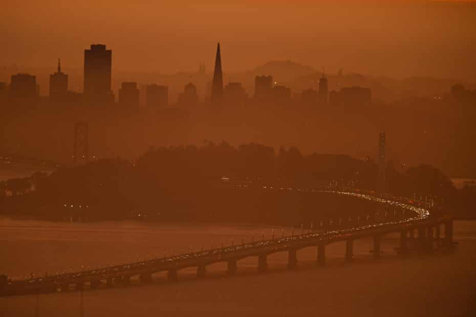 The San Francisco skyline is shrouded in smoke from wildfires in the north part of the state.