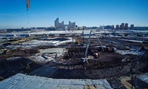 Building work on the Khan Shatyry entertainment centre in Astana, designed by Norman Foster in 2006.