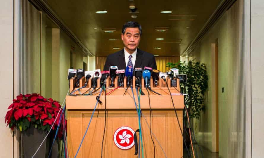 Leung Chun-ying gives a press conference