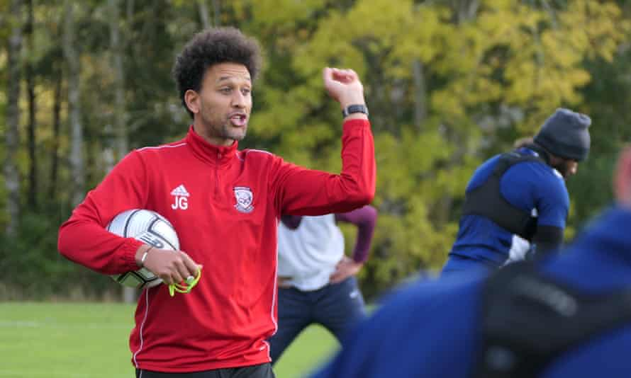 The Hereford manager, Josh Gowling, takes a training session. He leads his side into an FA Trophy semi-final against Woking on Saturday.