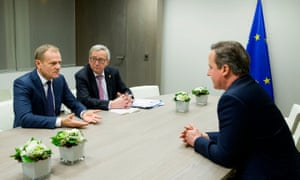 Rarely spoken to the British press before ... Donald Tusk and Jean-Claude Juncker with David Cameron.