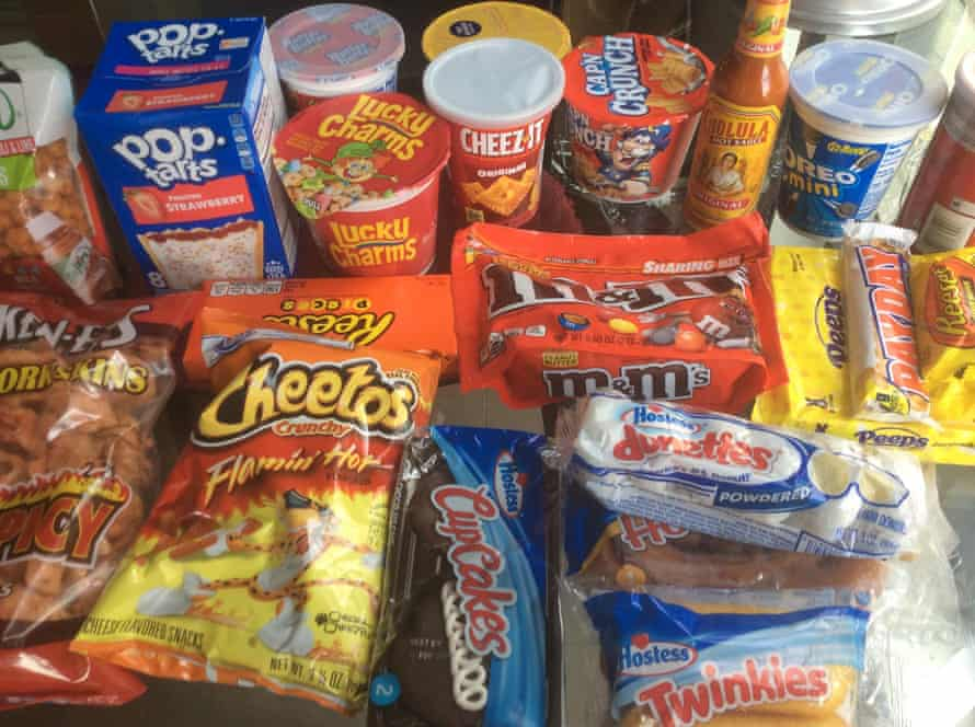 Flamin' Hot Cheetos, sweet cereals and Hostess cakes from the United States.