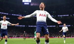 Christian Eriksen of Tottenham Hotspur celebrates scoring his team's late winner to devastate Chris Hughton's Brighton.
