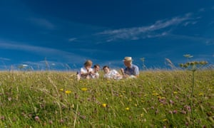 A picnic in a wild meadow on the South Downs, England.