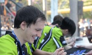 Tim 'Carbon' Wendel of Team Legacy at the signing desk