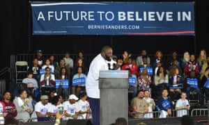 Killer Mike addresses a rally for Bernie Sanders in Atlanta, Georgia, in February 2016.