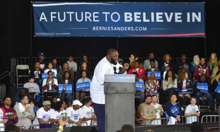 Killer Mike addresses a rally for Bernie Sanders in Atlanta, Georgia, in February 2016.