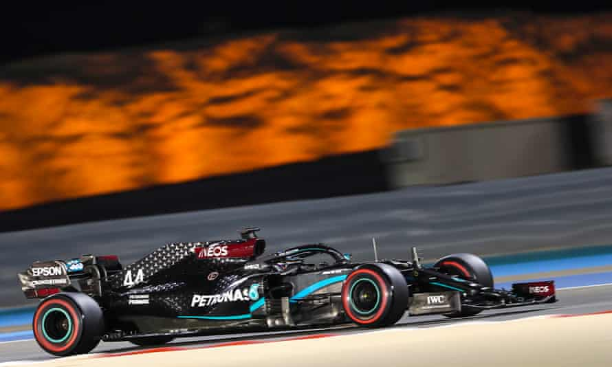 Lewis Hamilton in his Mercedes during the second practice session at the Bahrain Grand Prix.