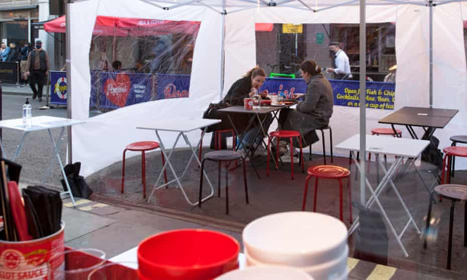 Mr Ji's Old Compton Street dining-room gazebo with two women in big coats at a table