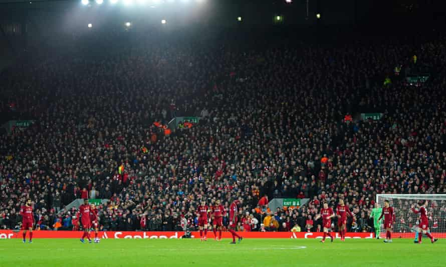 A packed Kop watches Liverpool take on Atlético Madrid at Anfield